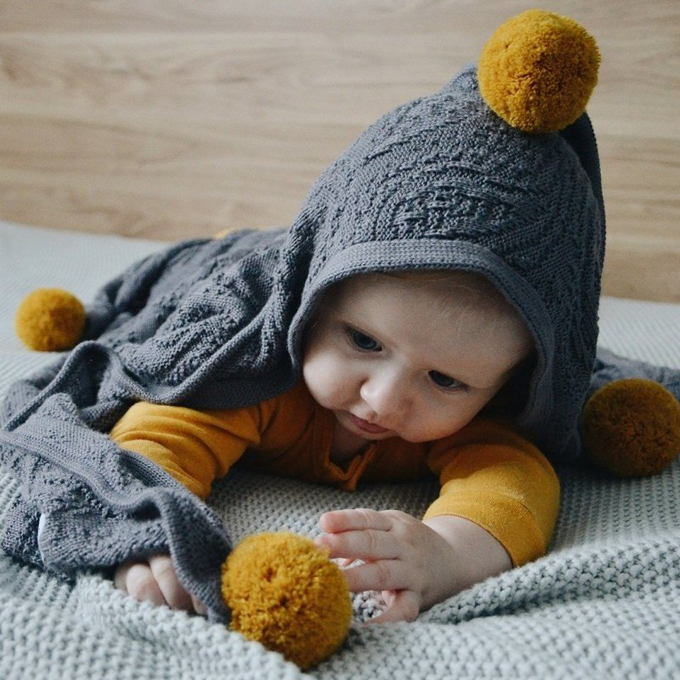 Graphite Bamboo Blanket with a Hood and Pompoms