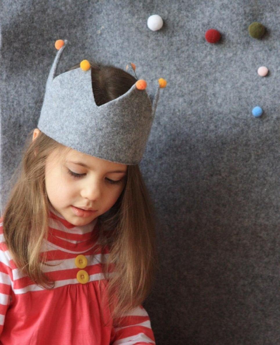 Grey Felt Kids Crown