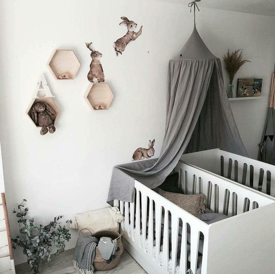 Grey Linen Children's Bed Canopy