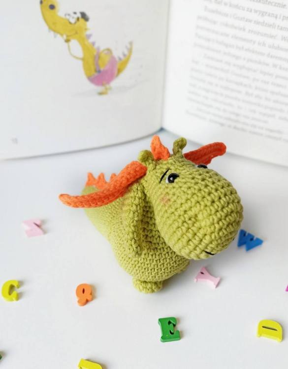 Strong and courageous, the Hand Knitted Baby Dragon Children's Plush Toy will watch over your little one each night and be by their side through every adventure. A friend for life.