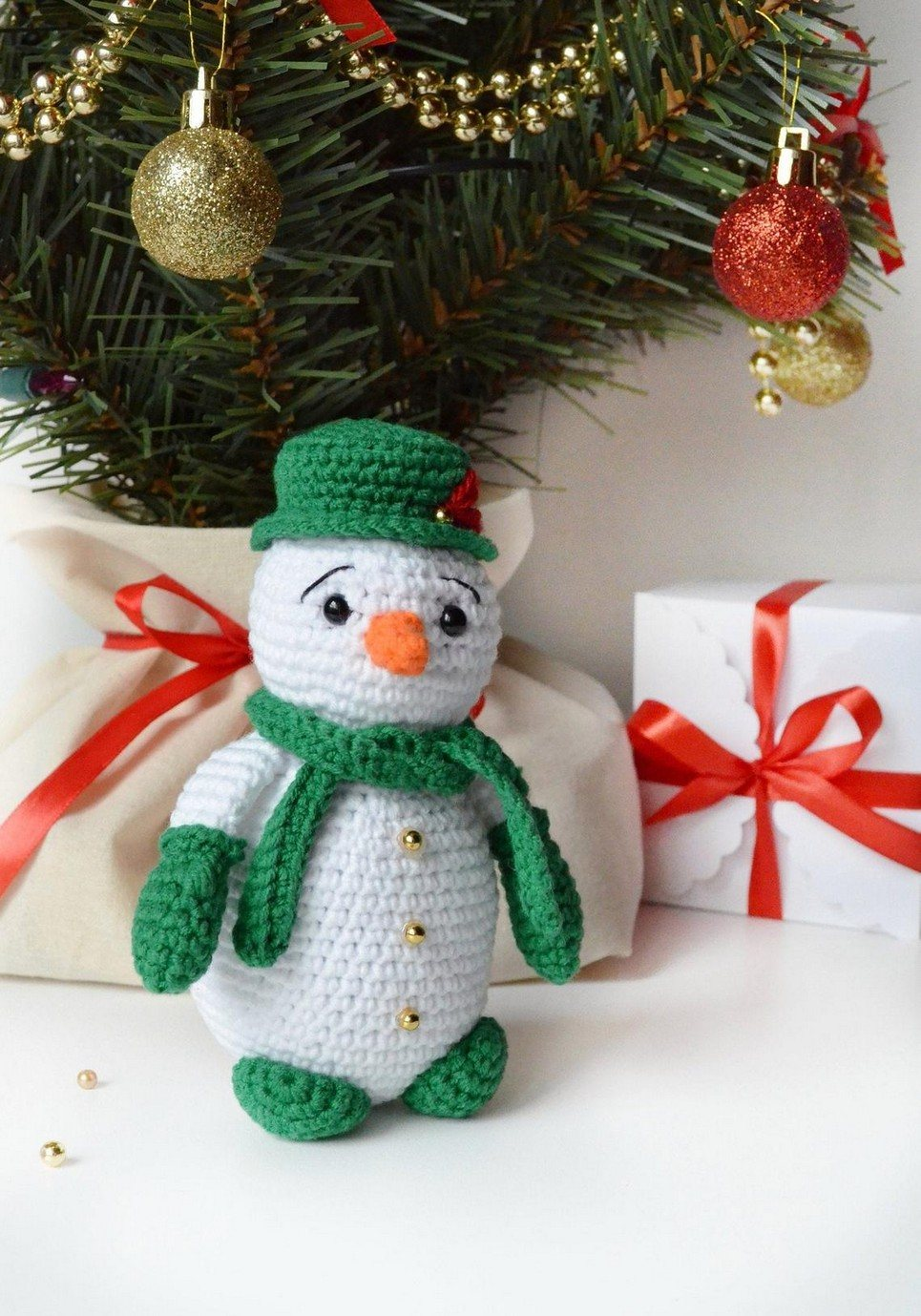 Hand Knitted Christmas Snowman Children's Plush Toy