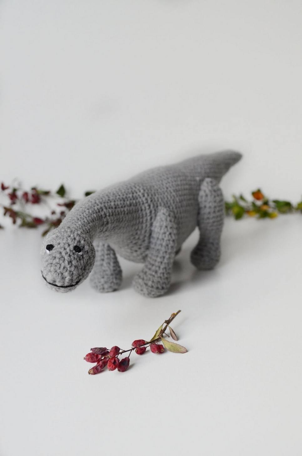 Hand Knitted Diplodocus Children's Plush Toy