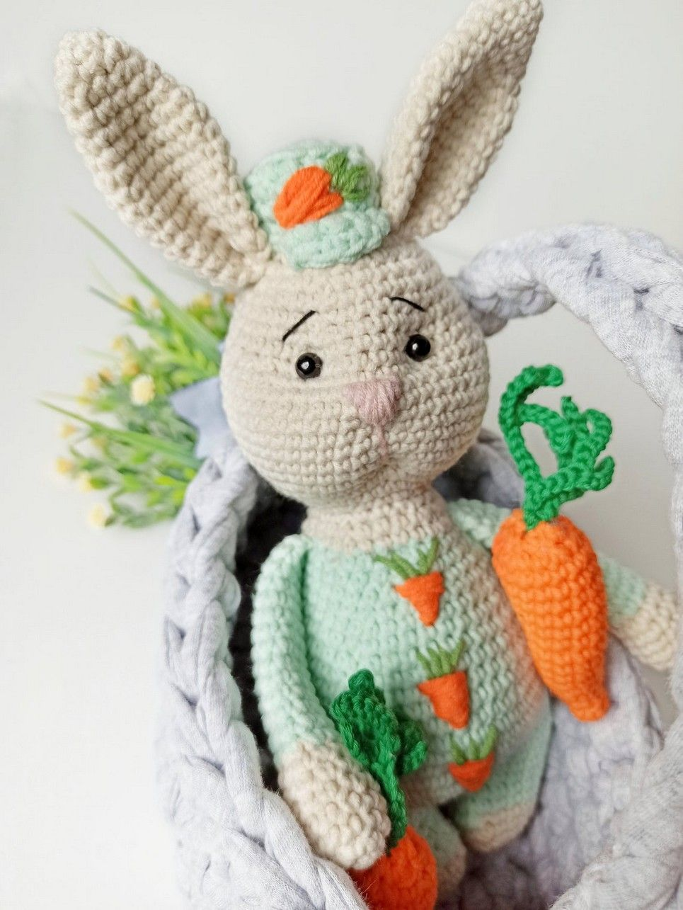 Hand Knitted Stuffed Bunny Children's Plush Toy