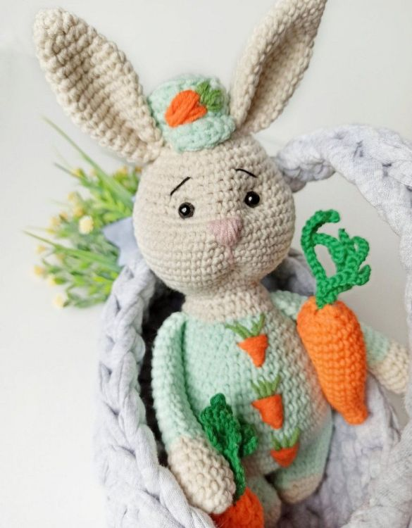 Strong and courageous, the Hand Knitted Stuffed Bunny Children's Plush Toy will watch over your little one each night and be by their side through every adventure. A friend for life.