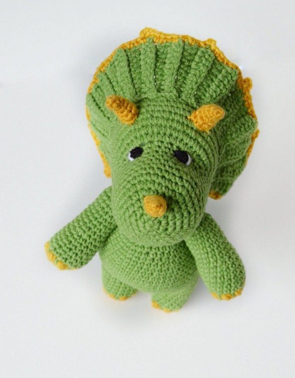Strong and courageous, the Hand Knitted Triceratops Children's Plush Toy will watch over your little one each night and be by their side through every adventure. A friend for life.