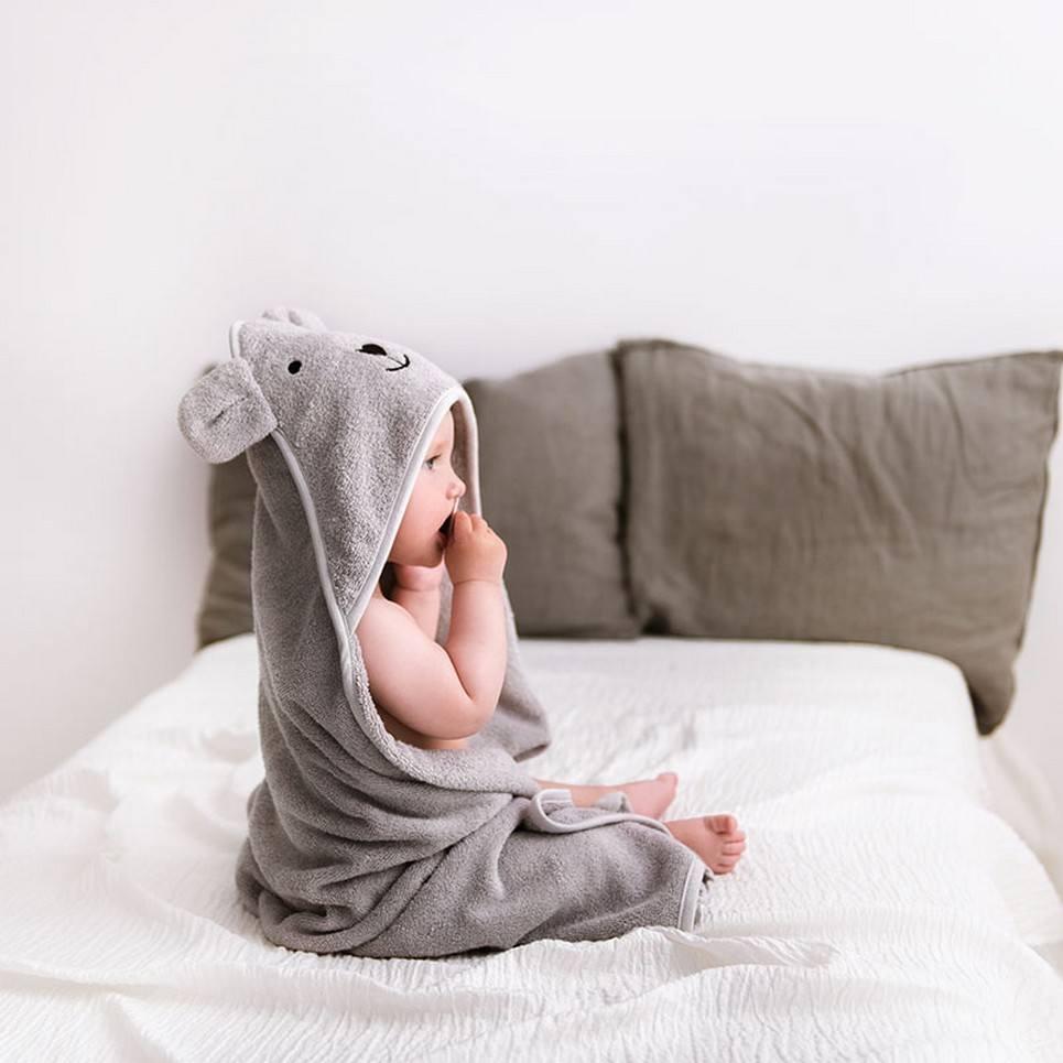 Light Gray Bamboo Hooded Baby Bath Towel