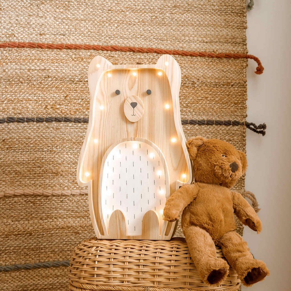 Wooden Teddy Bear Lamp with White Belly