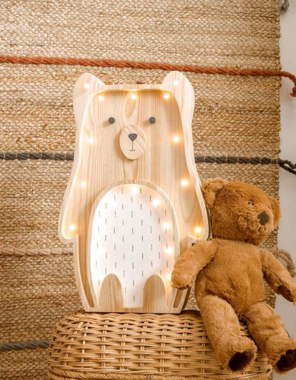Light up your little one's room with the Wooden Teddy Bear Lamp with White Belly, we think bedtime just got easier! The children's night light will help inspire your kids' love for the outdoors and dreams of big adventures and will help add a sense of calm to your little one's bedroom.
