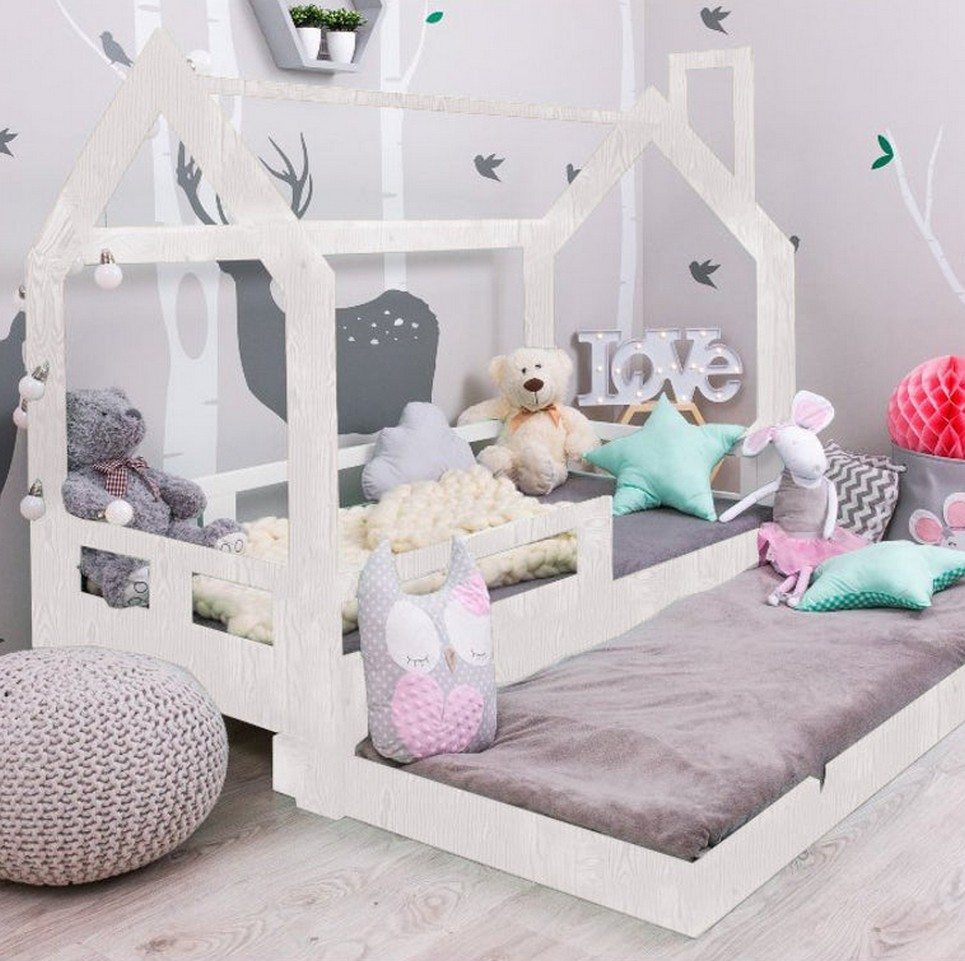 Children House Bed with Pull-out Bed