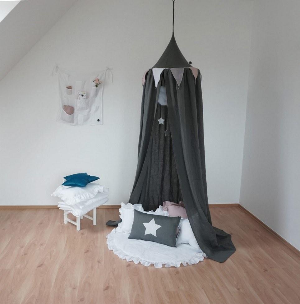 Graphite Linen Children's Bed Canopy