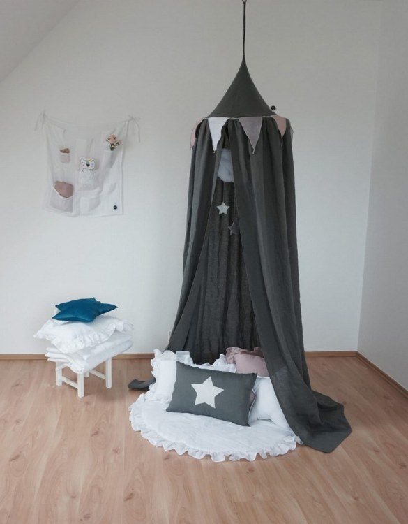 An ideal place to have fun both at home and outdoors, the Graphite Linen Children's Bed Canopy is a great place for your kid to have a lot of fun. Combined with soft and comfy floor mat it will become a perfect and quiet fun corner.