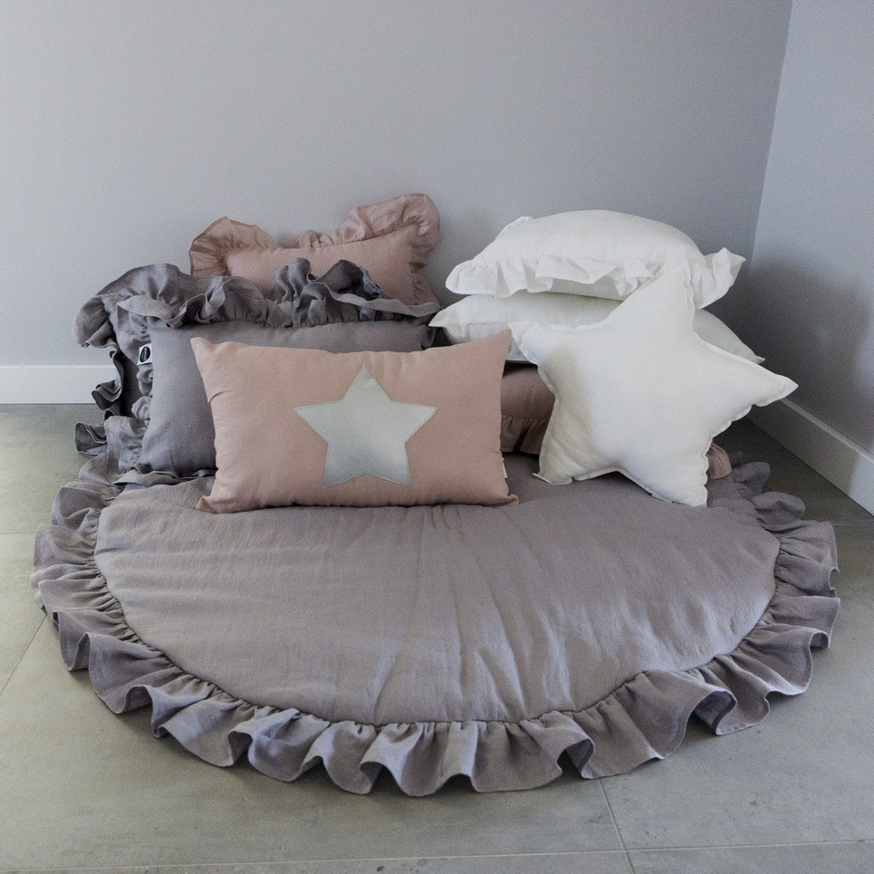Grey Baby Play Mat with Ruffle