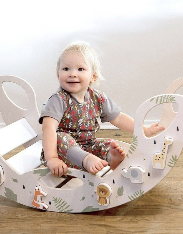 A real educational wooden toy, the Jumbo Magnetic Animals Rocking Toy is perfect for creative and curious toddlers at playtime. This rocking toy could be an ideal starting point for a toddler's healthy development as it offers a lot of excitement and directs children to take joy in movement.