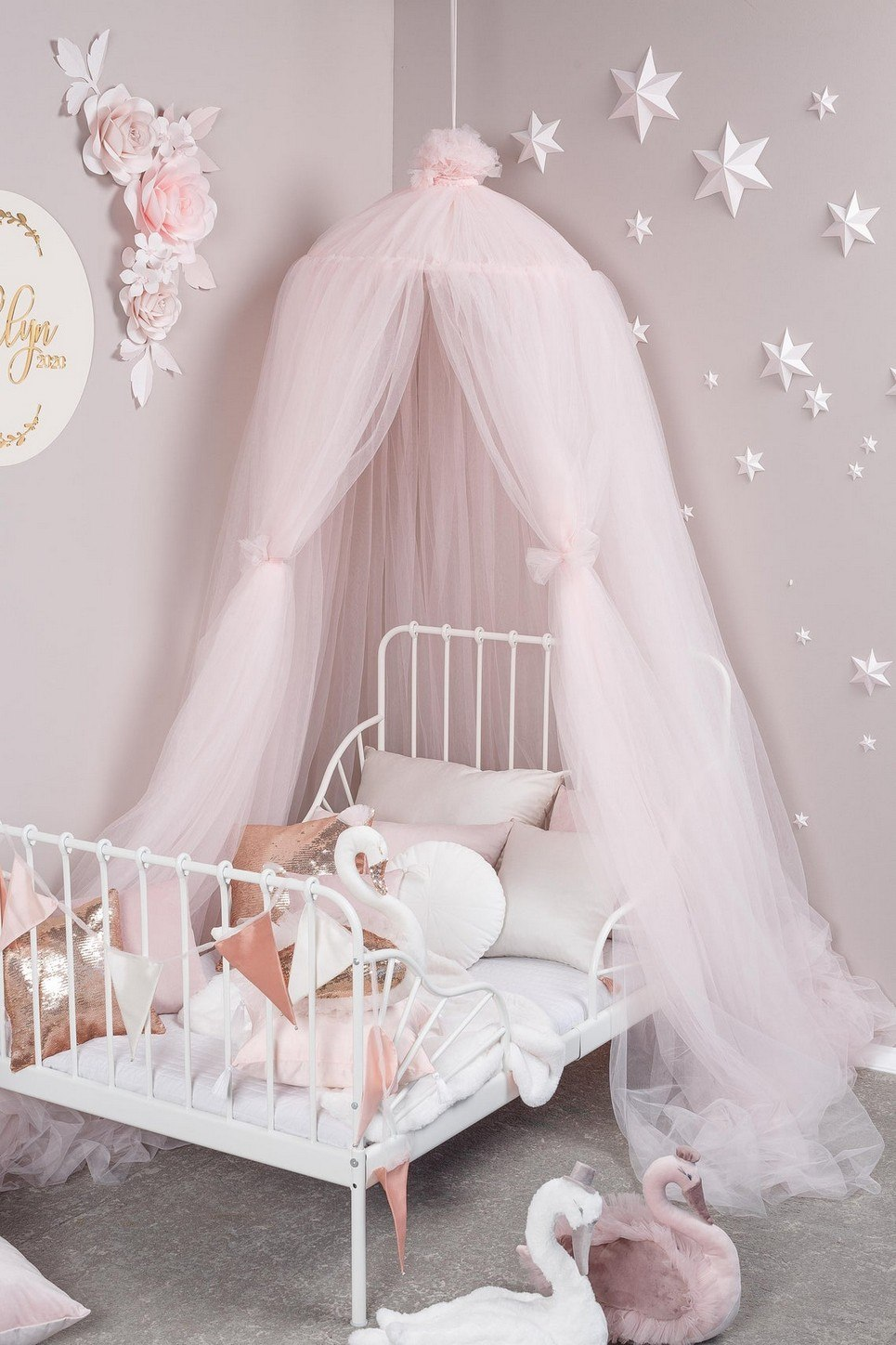 Light Rose Tulle Bed Canopy