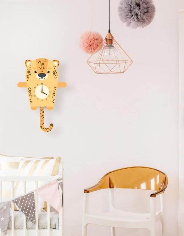 Ideal for hanging on the nursery or bedroom wall, the Lily The Leopard Pendulum Wall Clock is a great way of helping children learn to tell the time whilst offering a stunning wall decoration!