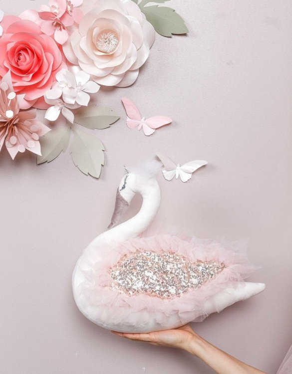 With a beautiful long curved neck and a graceful and pretty face, the Megan Swan Stuffed Toy is a wonderful decoration for girl nursery. A soft swan decor that you'll love to hug.