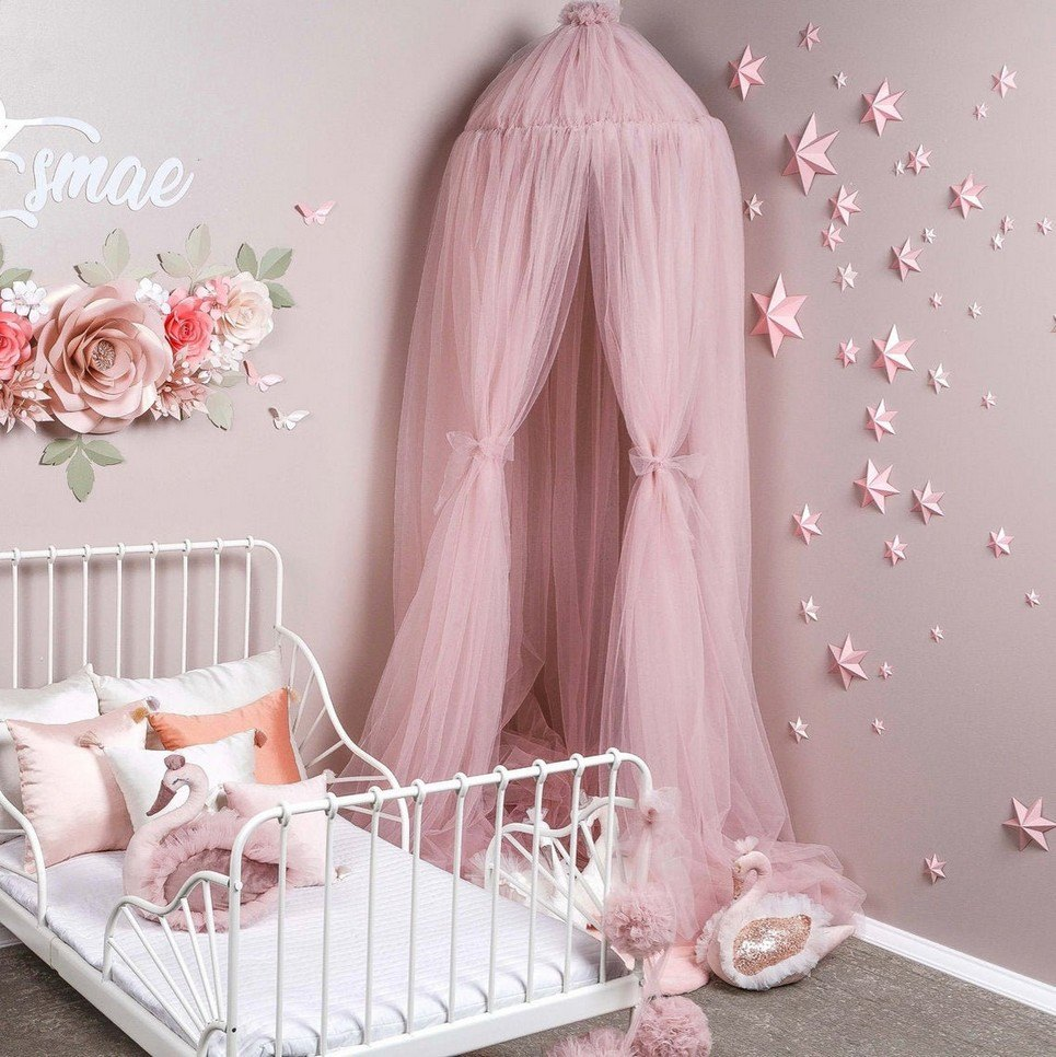Misty Rose Tulle Bed Canopy