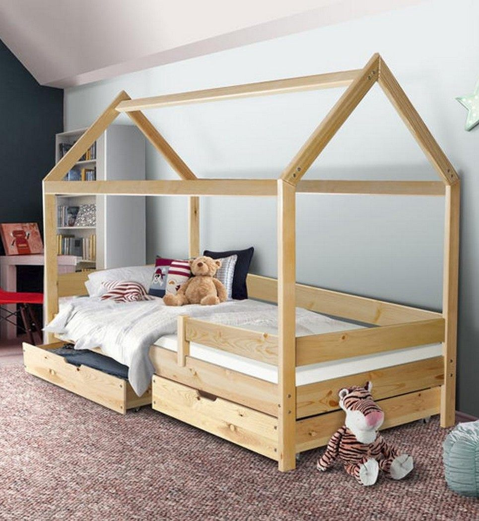 Montessori Bed with Safety Barriers and Drawers