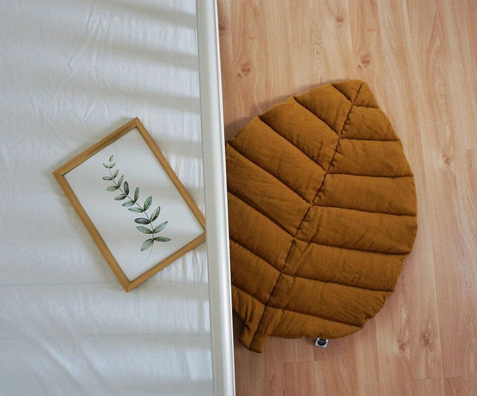Mustard Linen Leaf Play Mat