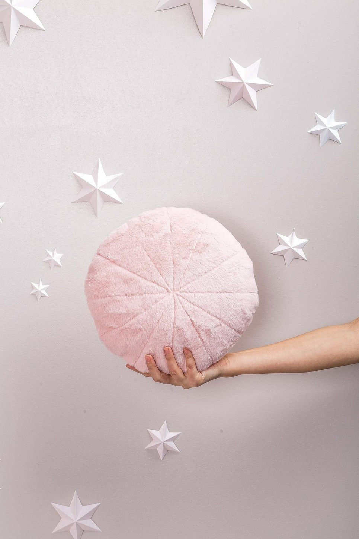 Pink Faux Fur Circle Pillow
