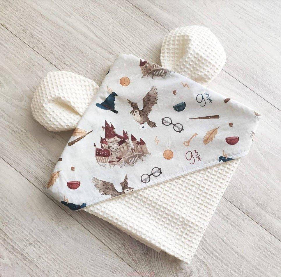School Of Magic Cream Hooded Baby Towel