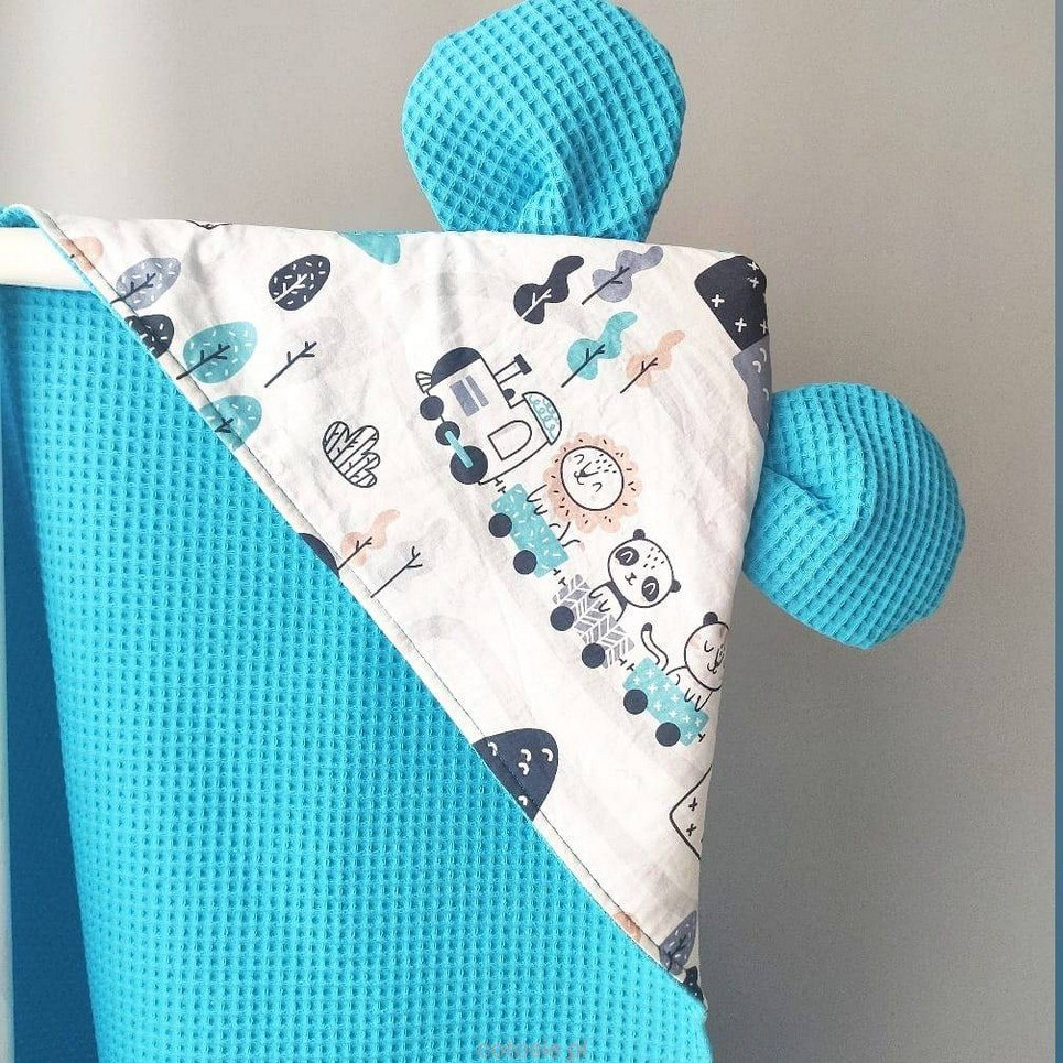 Train Turquoise Hooded Baby Towel