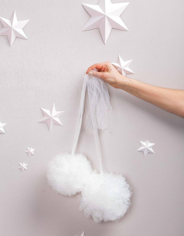 A simple yet effective way to transform your nursery, the White Soft Tulle Pom Poms is sure to capture your little one's attention! Whether you hang on your Christmas tree, in a nursery or down your table as a centrepiece, these soft tulle pom poms are perfect for adding some fluffy love to your space.