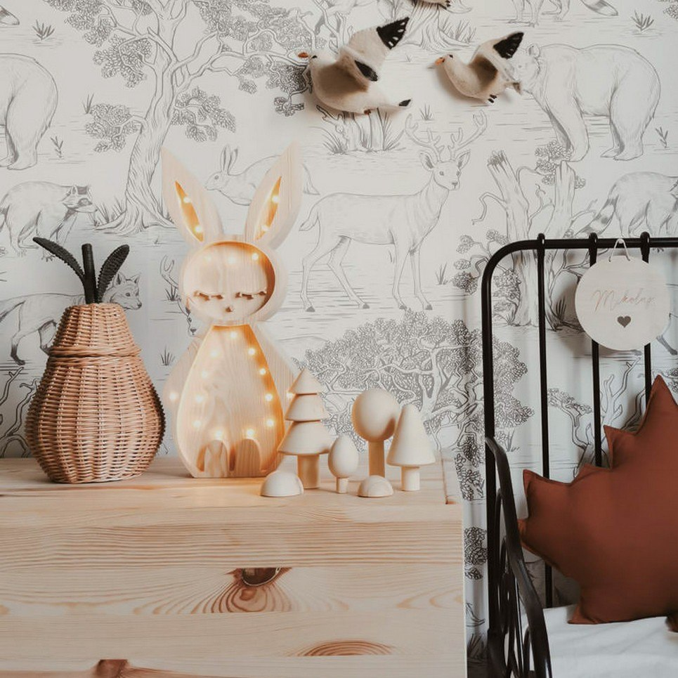 Wooden Bunny Lamp with Visible Wood