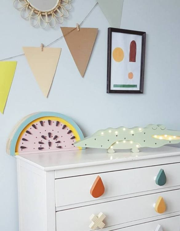 Light up your little one's room with the Wooden Crocodile Lamp, we think bedtime just got easier! The children's night light will help inspire your kids' love for the outdoors and dreams of big adventures and will help add a sense of calm to your little one's bedroom.