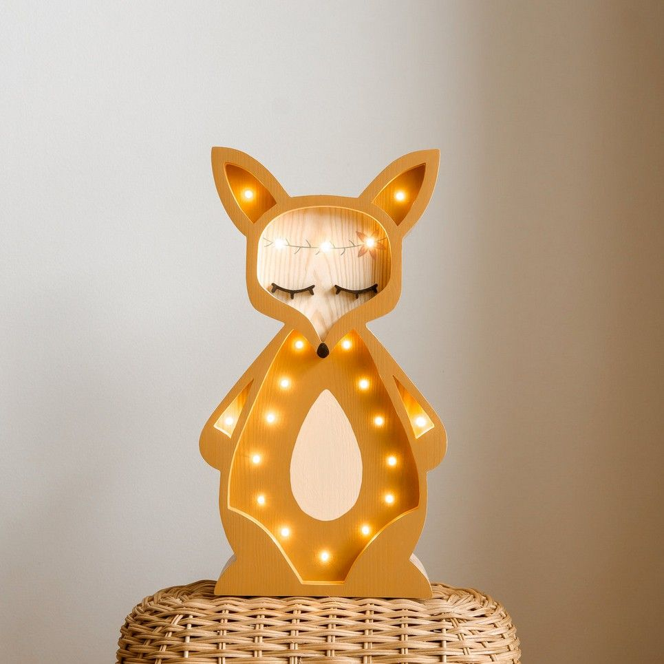 Wooden Fox Lamp with Visible Wood