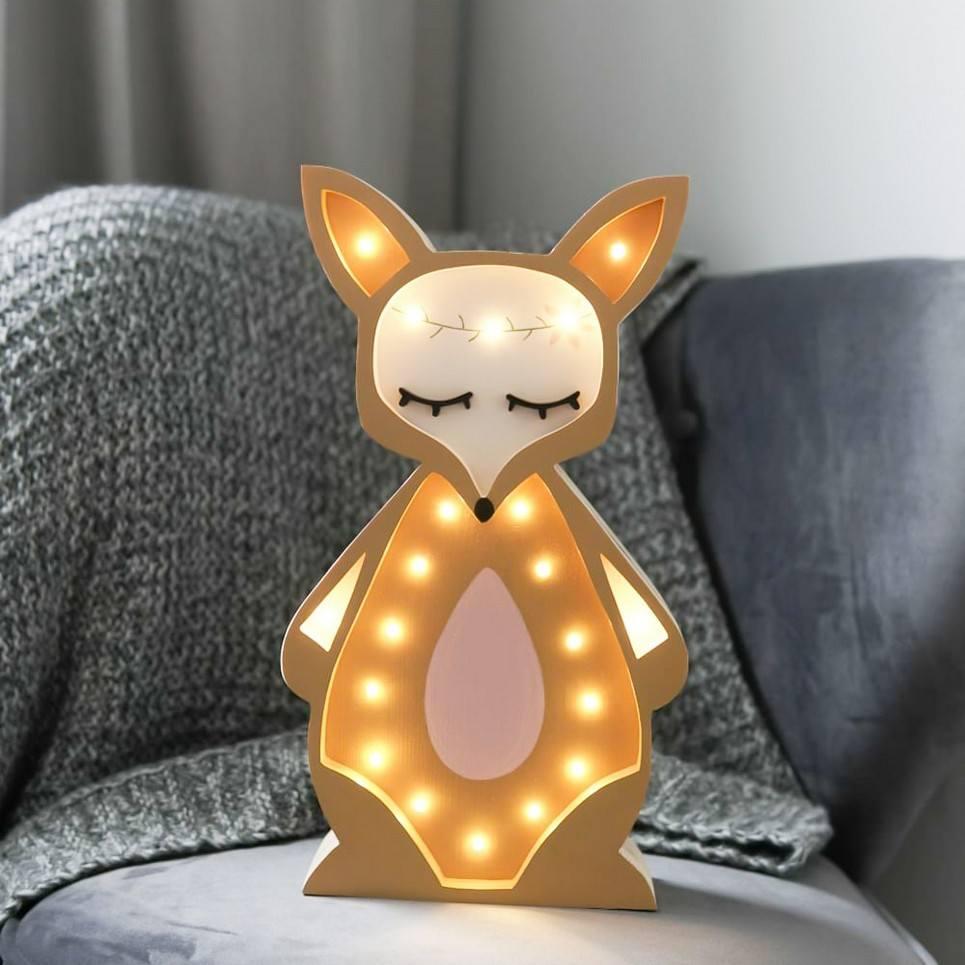 Wooden Fox Lamp