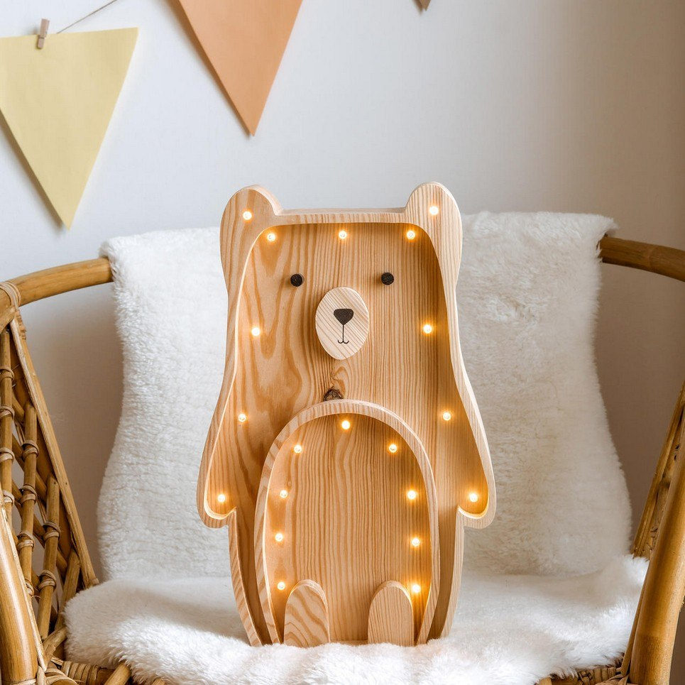 Wooden Teddy Bear Lamp with Visible Wood
