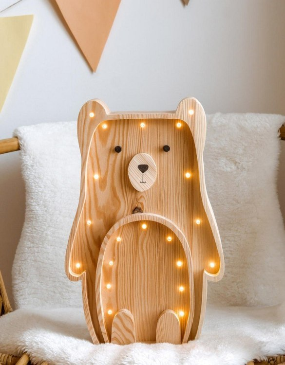 Light up your little one's room with the Wooden Teddy Bear Lamp with Visible Wood, we think bedtime just got easier! The children's night light will help inspire your kids' love for the outdoors and dreams of big adventures and will help add a sense of calm to your little one's bedroom.