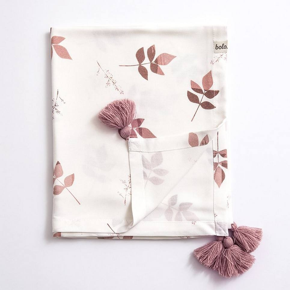 Dirty Pink Leaves Bamboo Swaddle Blanket