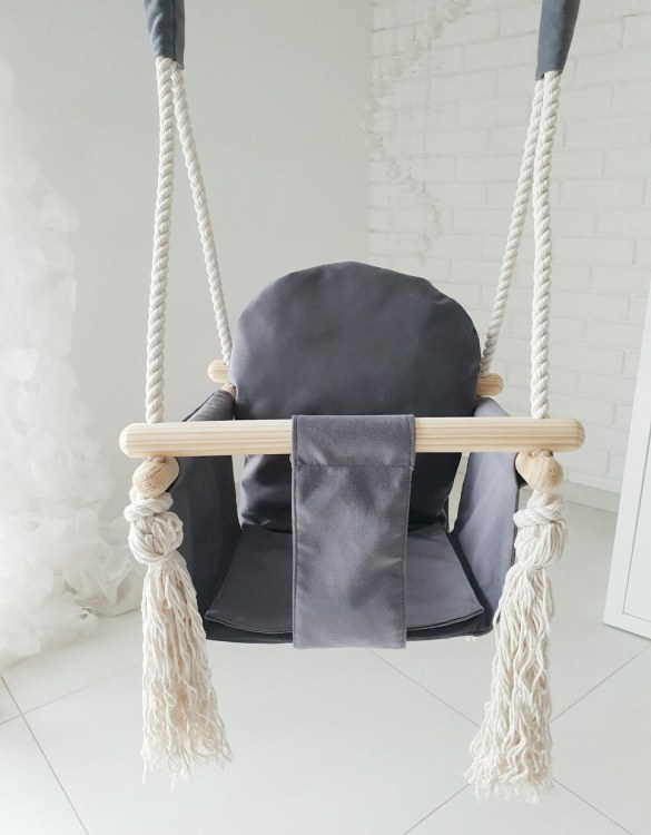 A favorite childhood toy, the Graphite Velvet Bunny Wooden Swing was designed with fun, fresh and modern style in mind. Keep your little ones entertained with this super fun swings.
