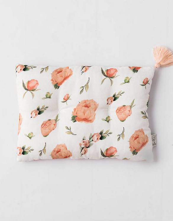 Perfect to suit your nursery theme, the Peach Peonies Bamboo Baby Pillow makes going to bed something special, an ideal way to conjure up sweet dreams. The perfect way to end the day this baby head pillow makes a great addition to any child's room and is a fun way to make sure that it feels special to them.