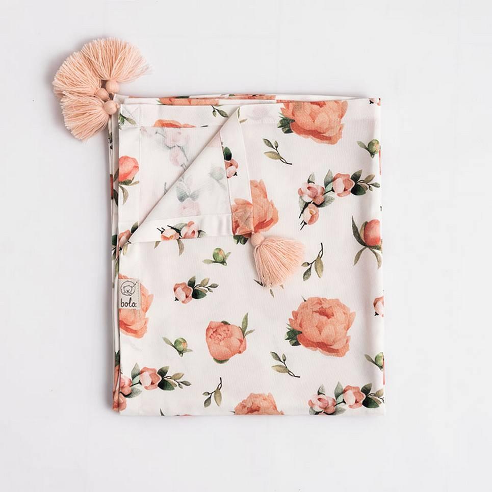Peach Peonies Bamboo Swaddle Blanket