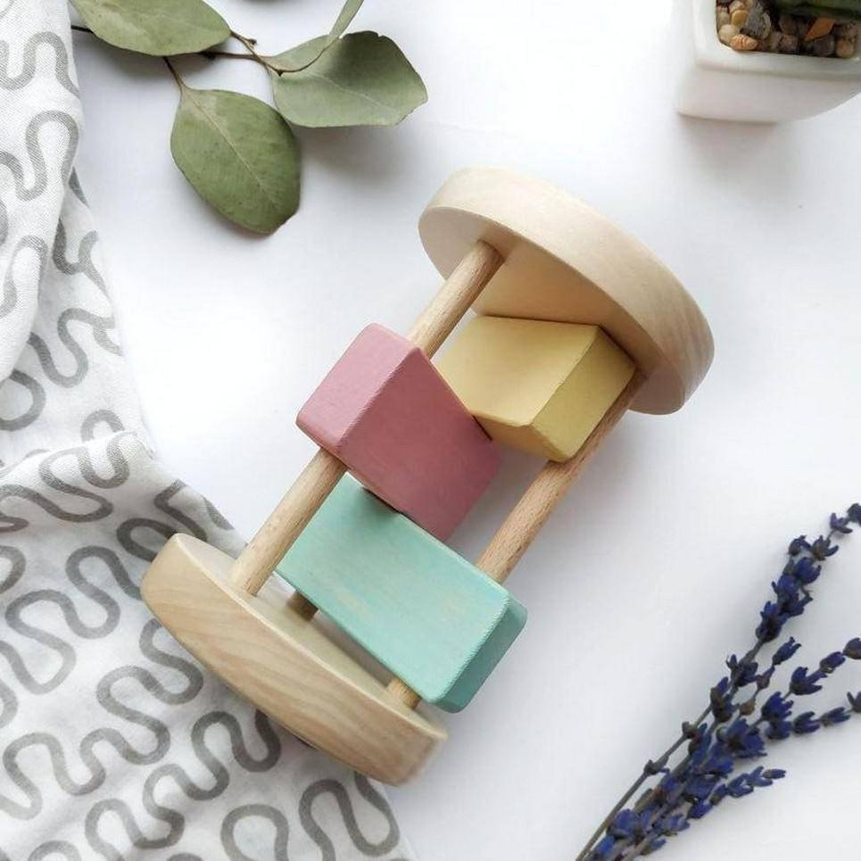 Wooden Montessori Baby Rattle for Girls