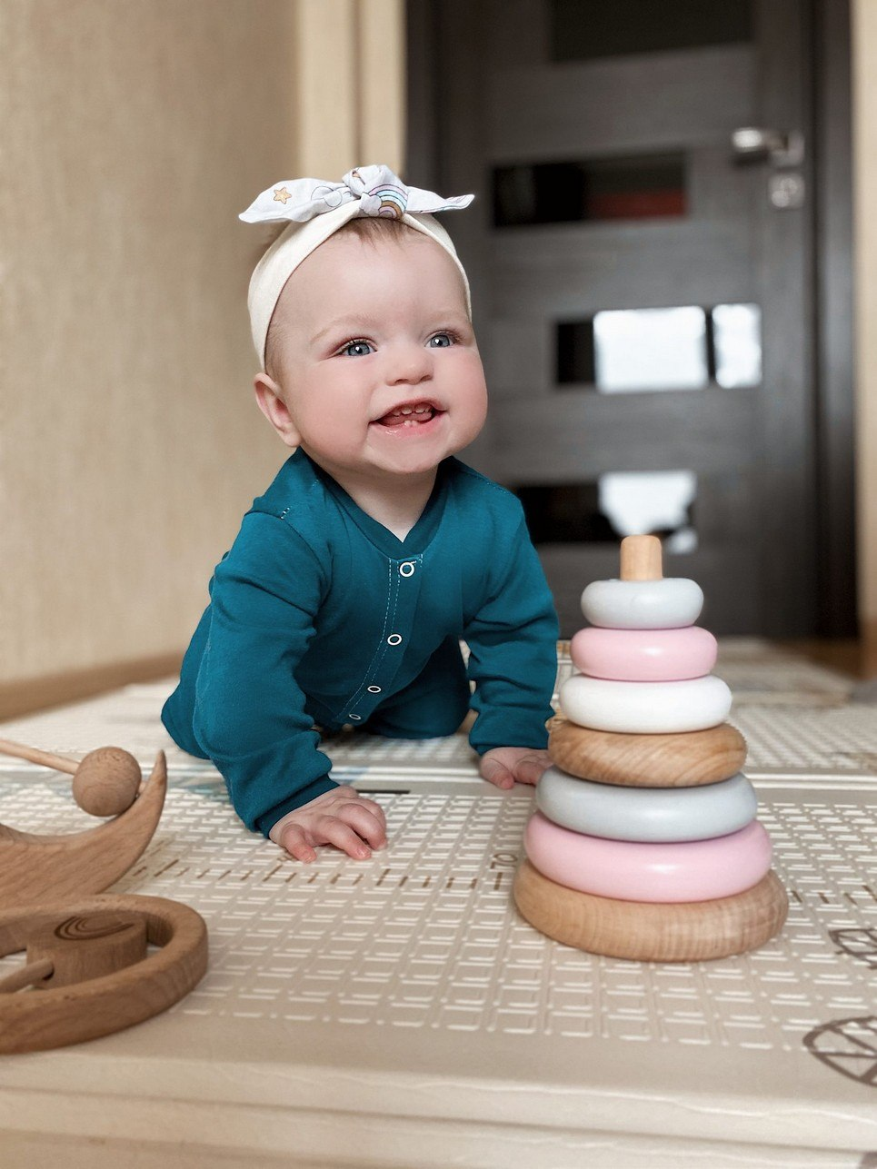 Wooden Pink Ring Stacker Toy