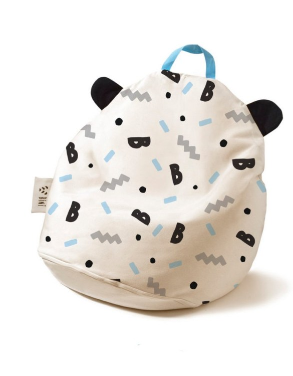 A charming little seat, the Bini B-Boy with Blue Handle Kid's Beanbag is an ideal solution to create a custom, stylish space for a children's room, youth room, or even a living room.