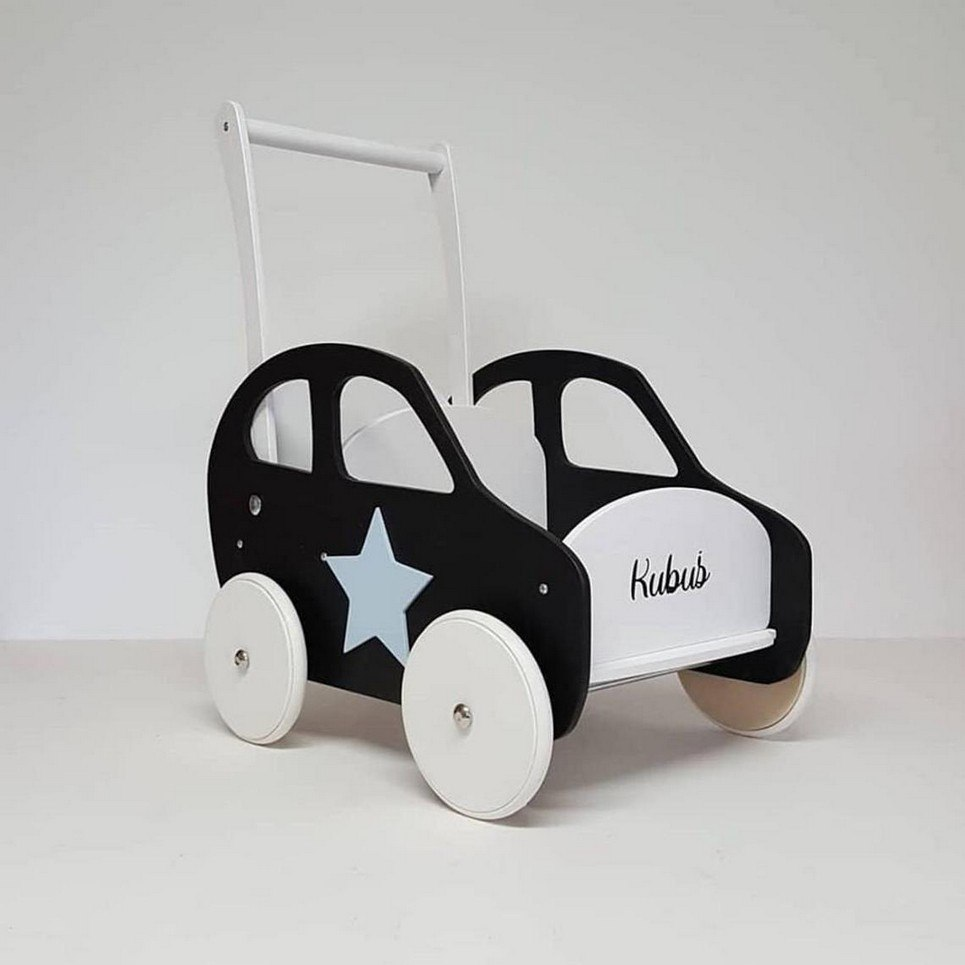 Black and White Personalised Wooden Baby Walker