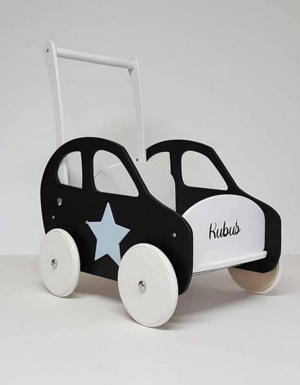 Colourful, fun and educational, the Black and White Personalised Wooden Baby Walker will satisfy the most demanding children. This will fulfill their innermost dreams. A personalized wooden walker in the shape of a car for children. Thanks to it, the child will learn to walk and will have fun at the same time.
