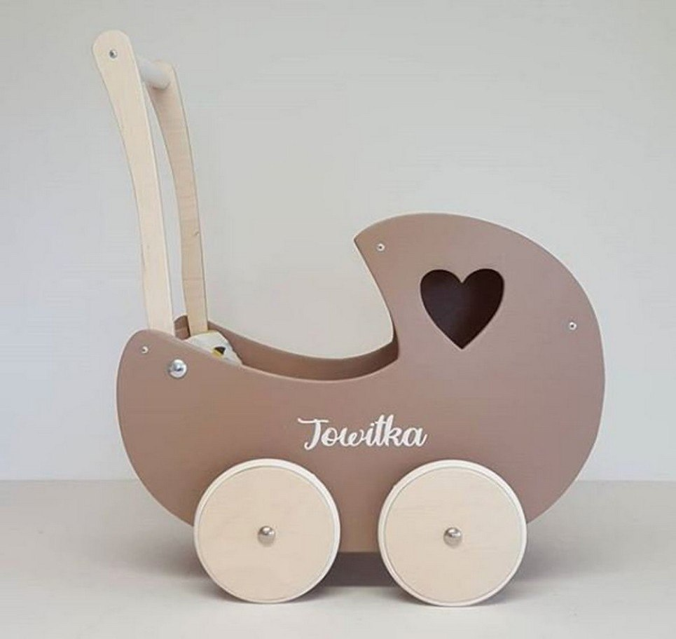 Brown Heart Personalised Wooden Doll Pram