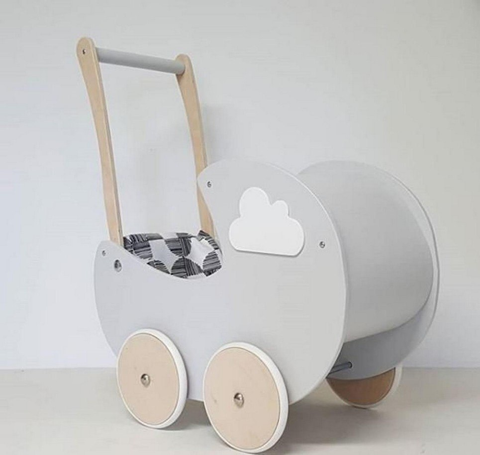 Fashionable Cloud Gray Personalised Wooden Doll Pram