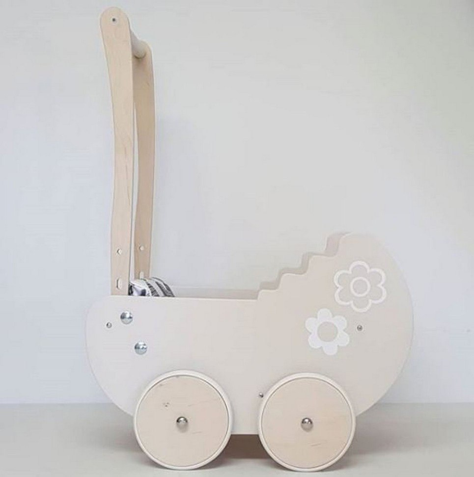 Fashionable Grey with Flowers Personalised Wooden Doll Pram
