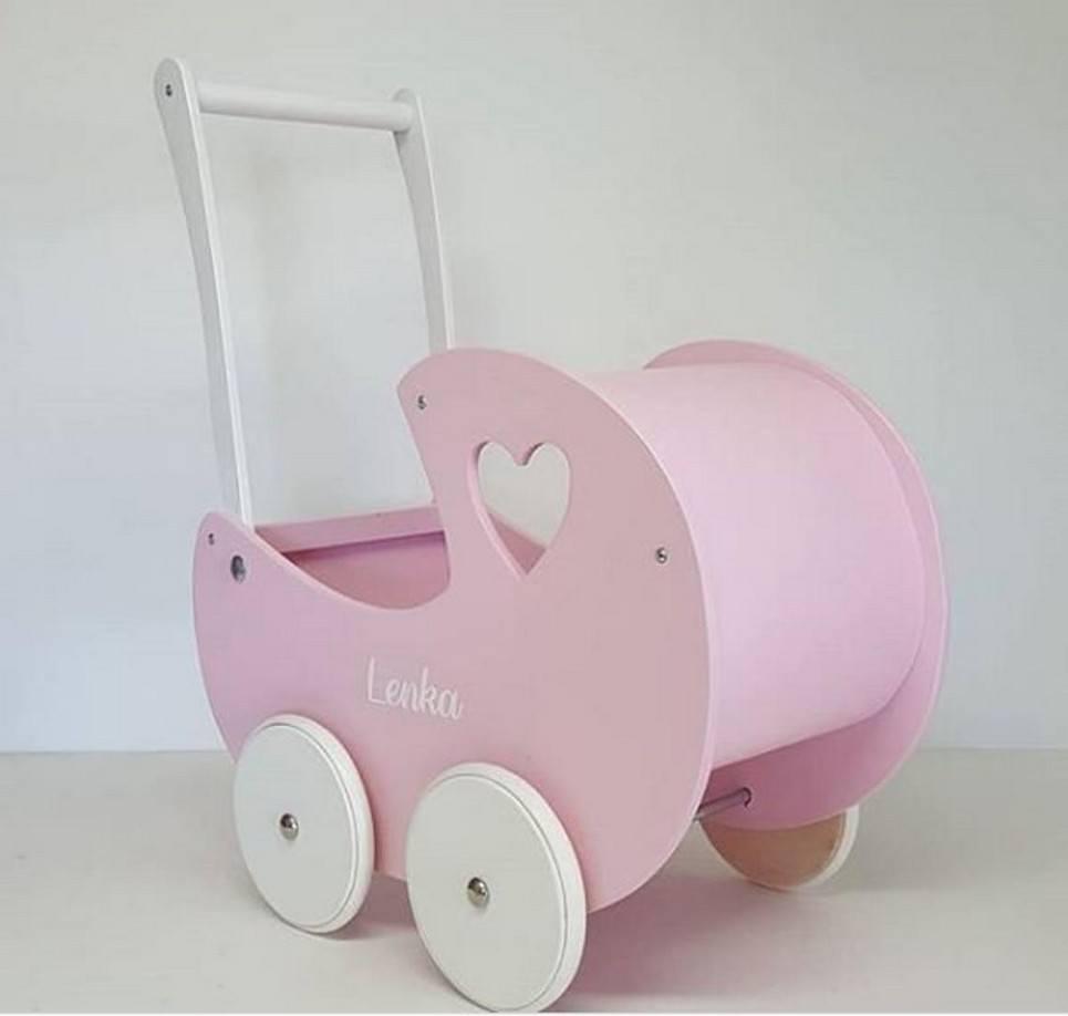 Girlish Heart Pink Personalised Wooden Doll Pram