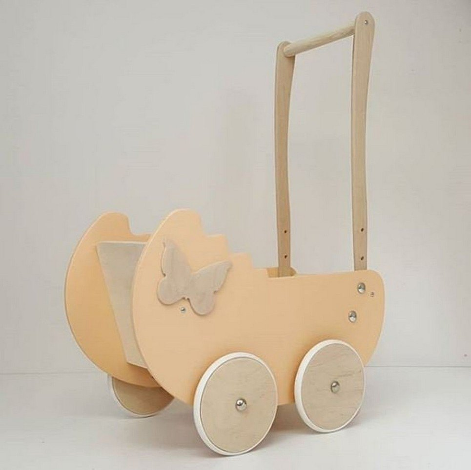 Stylish Creamy Butterfly Personalised Wooden Doll Pram
