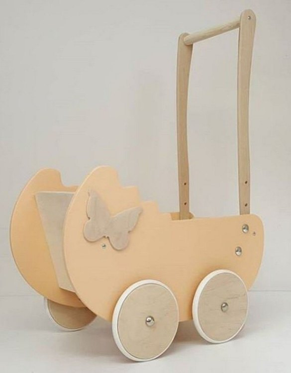 Allows you to carry dolls and teddy bears, the Stylish Creamy Butterfly Personalised Wooden Doll Pram helps to learn to walk and improves acquired walking skills. A gorgeous toddler wooden doll pram made from wood with an option of adding your child's name and including bedding set: duvet, pillow and bedsheet.