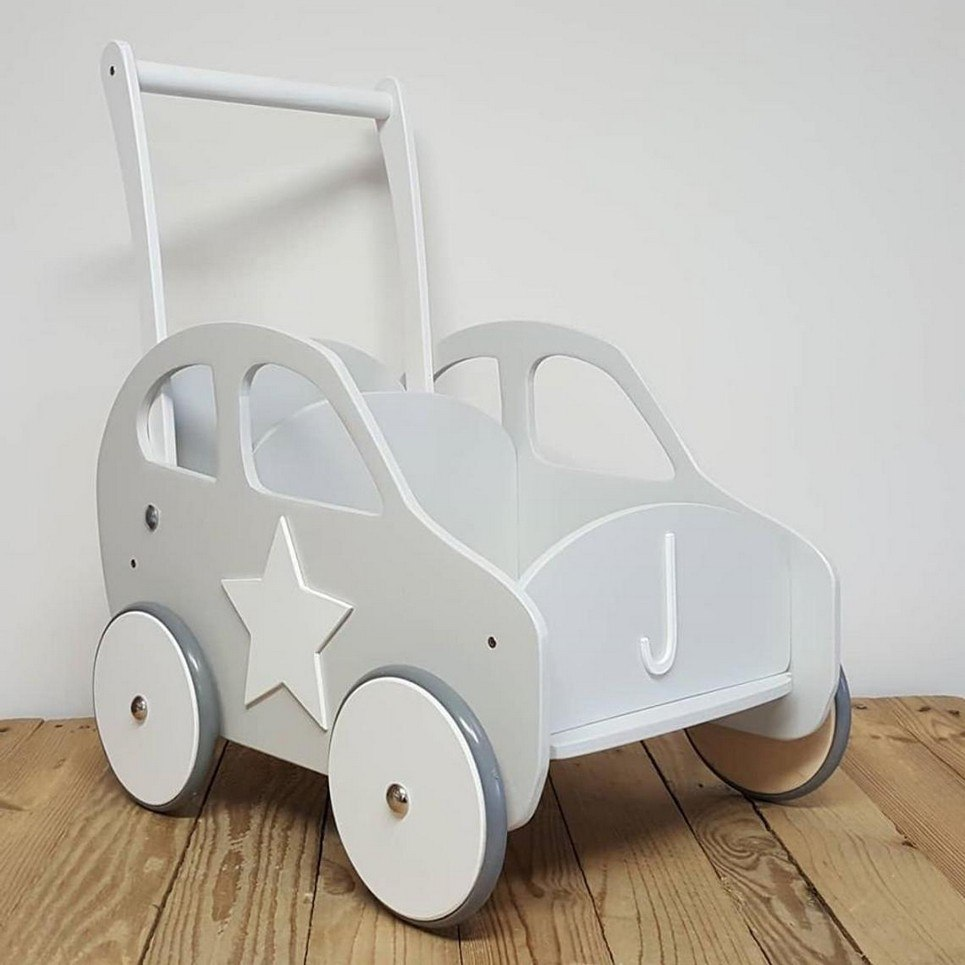 Stylish Grey Personalised Wooden Baby Walker