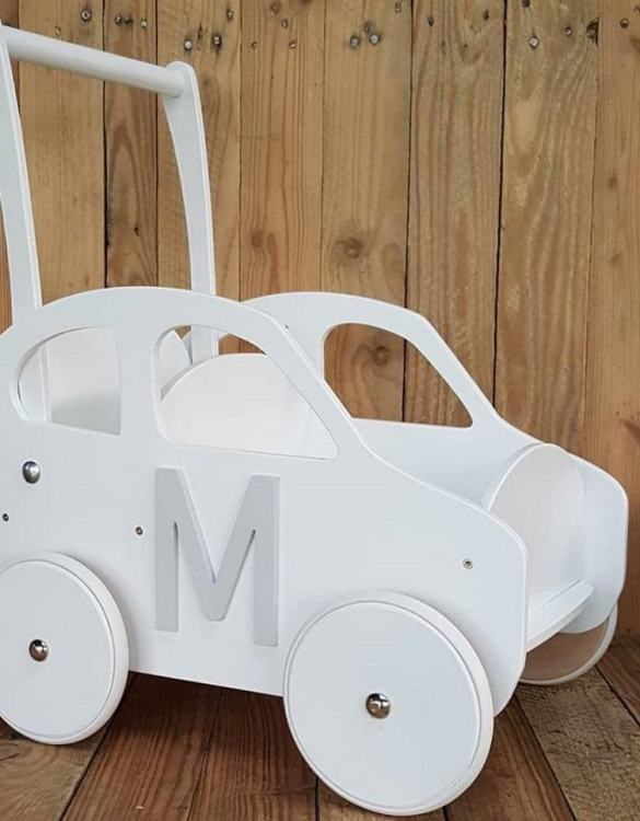 Colourful, fun and educational, the Stylish White Personalised Wooden Baby Walker will satisfy the most demanding children. This will fulfill their innermost dreams. A personalized wooden walker in the shape of a car for children. Thanks to it, the child will learn to walk and will have fun at the same time.